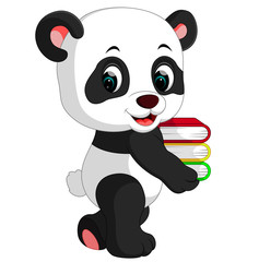 cute panda holding books