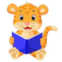 tiger reading book