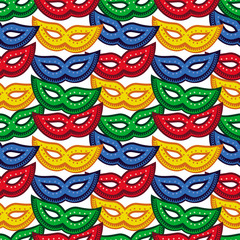 Seamless pattern with carnival masks. Vector clip art.