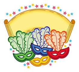 Color frame with carnival masks. Vector clip art.