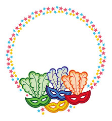 Color round frame with carnival masks. Vector clip art.