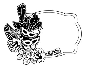 Silhouette label with carnival masks. Vector clip art.