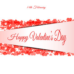 Vector Happy Valentine's Day background from two bands of hearts, paper stripe and text.
