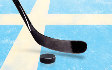Hockey Stick and Puck With Sweden Flag on Ice