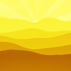 Yellow mountains, hills, peaks sun peeking over the mountain top, digital illustration