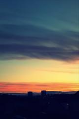 Evening sky over a town