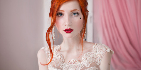 red-haired girl in a wedding dress, bright unusual appearance, r