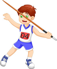 funny man athlete throwing a javelin