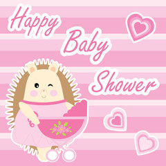 Baby shower card with cute hedgehog and baby cart on pink stripes background suitable for baby shower postcard, greeting card, and invitation card