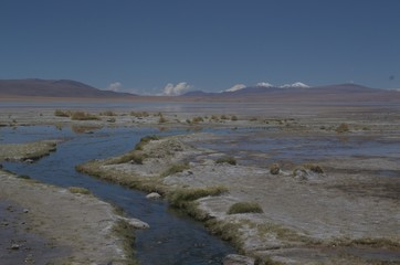 Printed kitchen splashbacks Lake Small stream flowing into a high Altitude lake in the Altiplano region of Bolivia