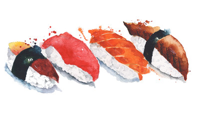 Sushi rolls watercolor painting illustration isolated on white background