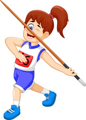 funny woman athlete throwing a javelin