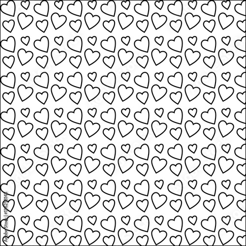 Seamless Heart Shape Outlines Pattern For Valentine S Day Love