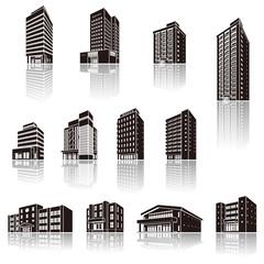 建物の影のイラスト / 立体図形