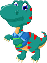 cute tyrannosaurus cartoon walking