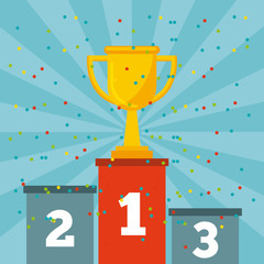 gold trophy on a podium of first place over blue background. colorful design. vector illustration