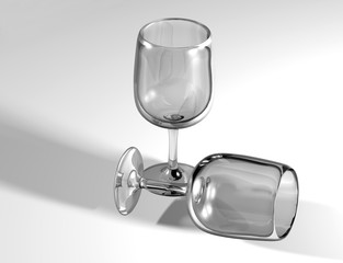 Pair of glass goblets - 3D illustration