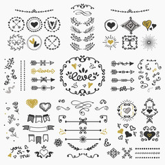 Black and golden hand drawn cute design elements set on off white background