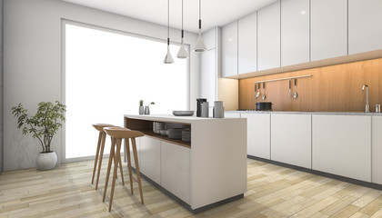 3d rendering white modern kitchen with wood bar