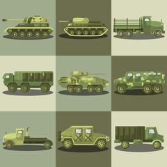Military cars and army machine trucks