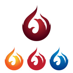 Fire Phoenix Bird Burning Flame Logo Illustration