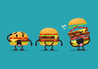 Three funny hamburgers character