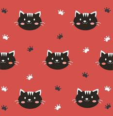 Cute black cat in red background