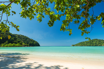 Beautiful tropical beach with blue sky, Located Surin Island, Thailand