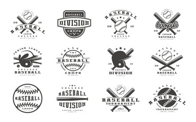 Badges set of baseball team Wall mural