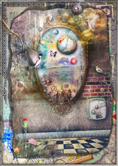 Garden Poster Imagination Through the Looking-Glass;magic mirror in the Wonderland