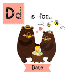 Cute children ABC alphabet D letter tracing flashcard of a couple on Date for kids learning English vocabulary in Valentines Day theme.