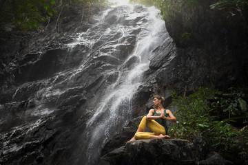 serenity and yoga practicing at Phaeng waterfall, koh Phangan island,Thailand