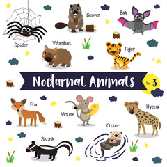 Nocturnal Animals cartoon on white background with animal name. Set 3.