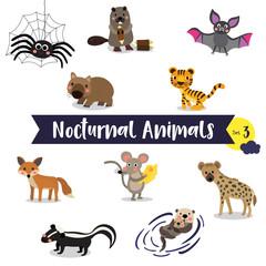 Nocturnal Animals cartoon on white background. Set 3.