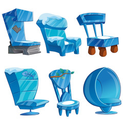 Set of chair interior made of ice. Sketch for greeting card, festive poster. The attributes of Christmas and New year