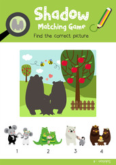 Shadow matching game by finding the correct picture of animals for preschool kids activity worksheet in Valentines Day theme colorful printable version layout in A4.