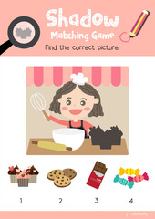 Shadow matching game by finding the correct picture of cupcake for preschool kids activity worksheet in Valentines Day theme colorful printable version layout in A4.