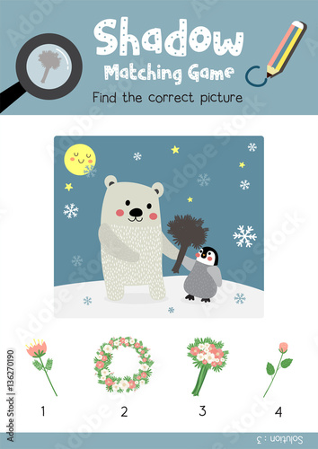 Shadow matching game by finding the correct picture of flower for ...
