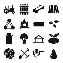 Set of 16 Agriculture filled icons