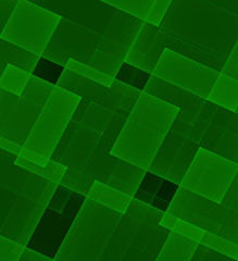 Abstract transparent green rectangles