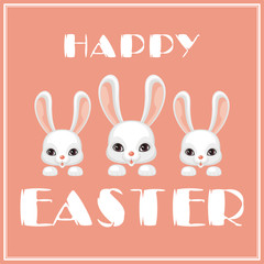 Happy Easter greeting card with the image of a white Easter Bunny. Vector illustration.