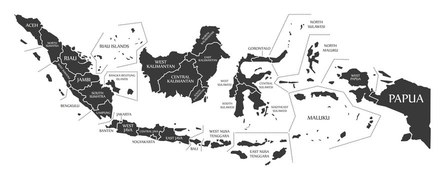 Indonesia Map labelled black illustration