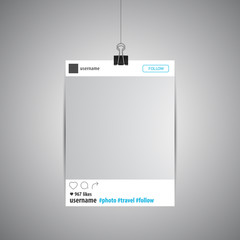 Social network photo frame vector illustration. Polaroid Picture