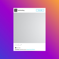 Photo frame of the social network page isolated on colorfull bac