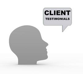 3d head and client testimonials