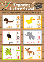 Clip cards matching game of beginning letter sound D, E, F for preschool kids activity worksheet in animals theme colorful printable version layout in A4.