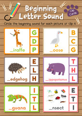 Clip cards matching game of beginning letter sound G, H, I for preschool kids activity worksheet in animals theme colorful printable version layout in A4.