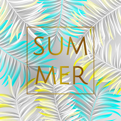 Tropical palm leaves design for text card. Summer. Vector illustration EPS10