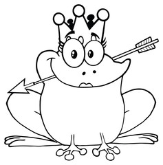 Black And White Princess Frog Cartoon Mascot Character With Crown And Arrow. Illustration Isolated On White Background