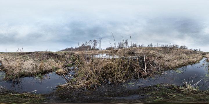 Full 360 degree equirectangula panorama beaver dam